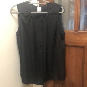 Cabi black sleeveless top with grosgrain trim
